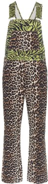 tiger and leopard print denim overalls - Black