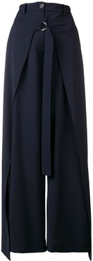 drape wide-leg trousers - Blue