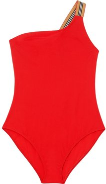 Icon stripe detail swimsuit - Red