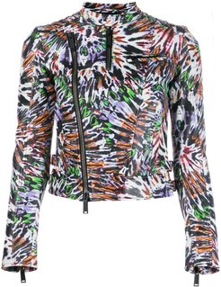 Punk pattern biker jacket - Purple