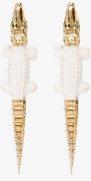18K yellow gold croc drop earrings