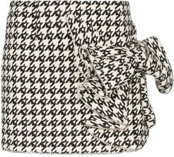 crystal bow detail houndstooth skirt - Black
