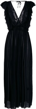ruffle-trimmed long dress - Black