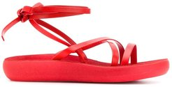 wrap tie ankle sandals - Red