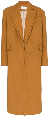 double collar long coat - Brown