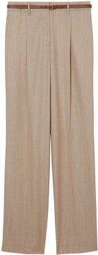 Leather Stripe Tailored Trousers - NEUTRALS