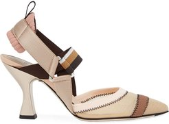 multicoloured sling back court shoes - NEUTRALS