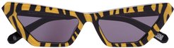 tiger-print cat-eye sunglasses - Yellow