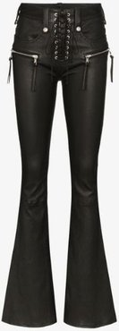 high waist lace-up flared leather trousers