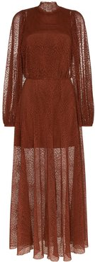 Picasso high-neck sheer dress - Brown