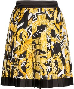 Barocco print pleated mini skirt - Black