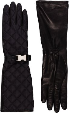 buckle detail quilted gloves - Black