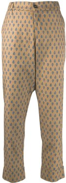 embroidered cropped trousers - Neutrals