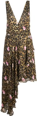 sleeveless leopard print dress - Brown