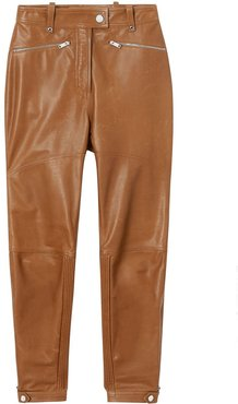 Biker Leather Trousers - Brown