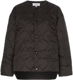 collarless quilted jacket - Black