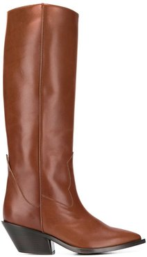 knee-length pointed boots - Brown