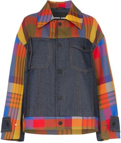 panelled checked jacket - MULTICOLOURED