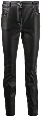 slim fit leather trousers - Black