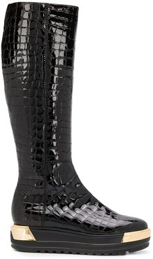 embossed croc effect boots - Black