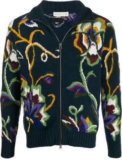 floral knitted cardigan - Blue