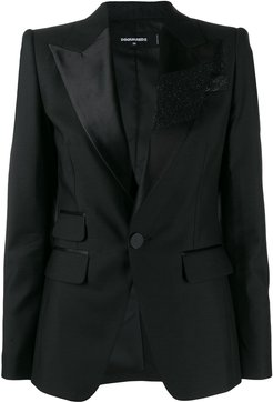 glitter brush tuxedo jacket - Black