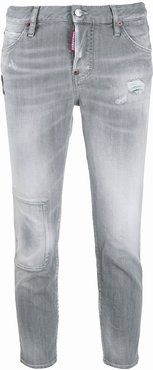 cropped faded jeans - Grey