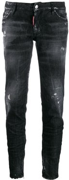 distressed tapered jeans - Black
