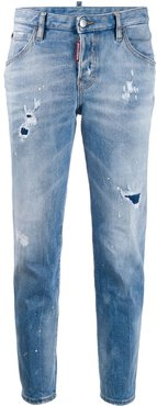 distressed tapered jeans - Blue
