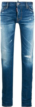 distressed stonewashed jeans - Blue