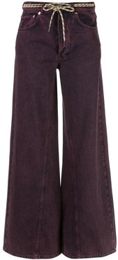 flared belted jeans - PURPLE