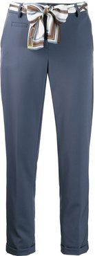 cropped belted trousers - Blue
