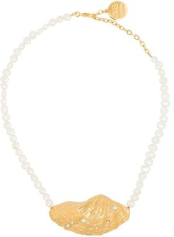 large shell pearl necklace - White