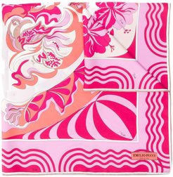 abstract floral print scarf - Pink