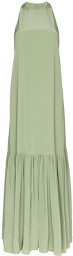 sleeveless flared maxi dress - Green