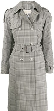 checked trench coat - NEUTRALS
