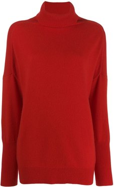 roll neck cashmere jumper - Red