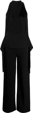 fringed halterneck jumpsuit - Black