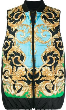 Baroque printed padded gilet - Blue