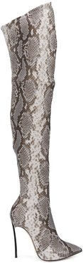 over the knee animal print boots - NEUTRALS