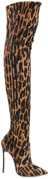 over the knee animal print boots - Brown