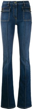 creased flared jeans - Blue
