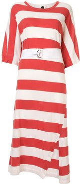 belted striped midi dress - Red