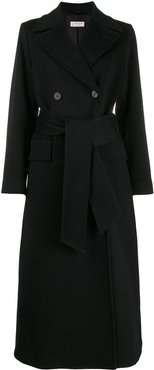 belted double-breasted coat - Black