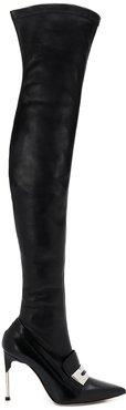 layered effect thigh high boots - Black