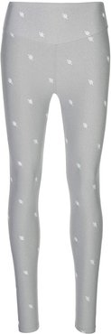 embroidered detail leggings - Grey
