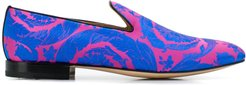 Baroque print slippers - Blue