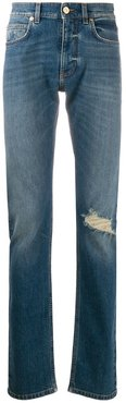 distressed-effect straight-leg jeans - Blue