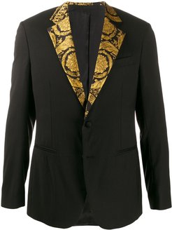 printed lapel suit jacket - Black
