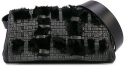 faux fur belt bag - Black